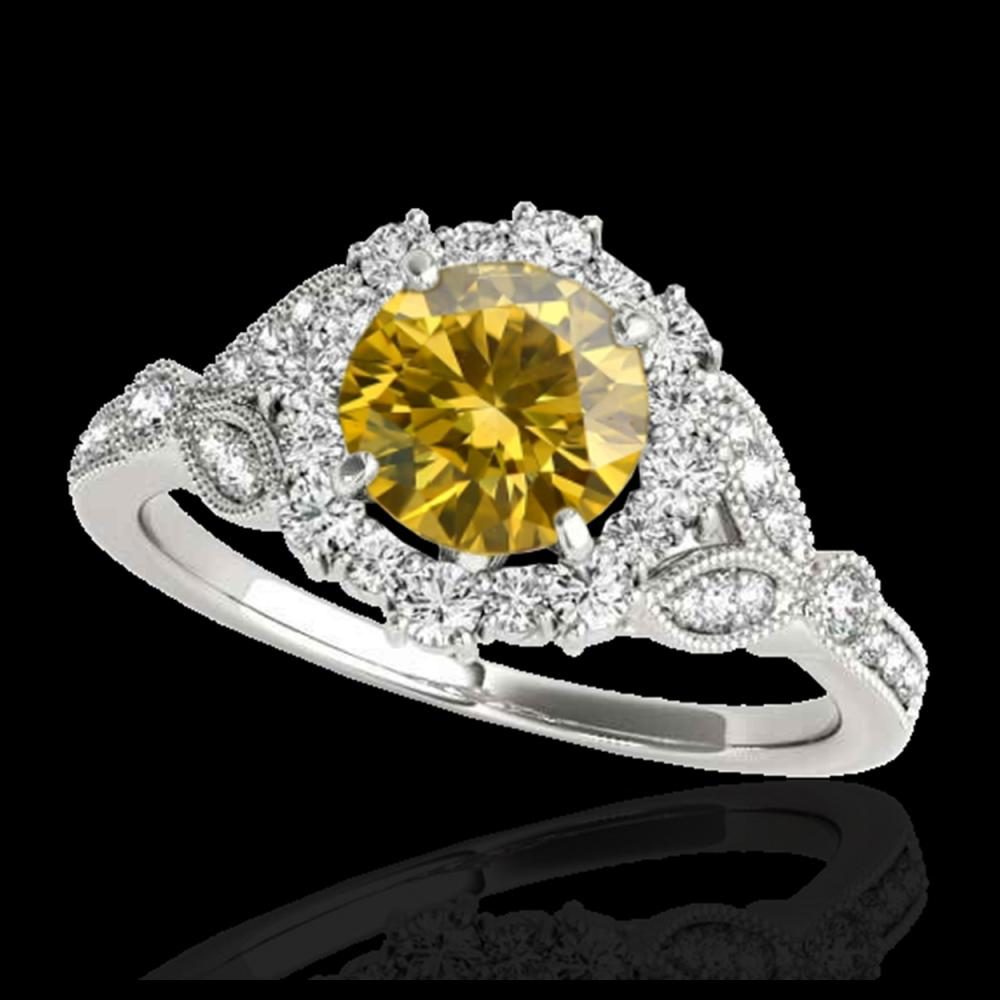 1.5 CTW Certified SI/I Fancy Intense Yellow Diamond Solitaire Halo Ring 10K White Gold - REF-174A5X - 33767