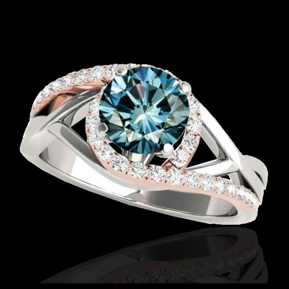 1.8 CTW SI Certified Fancy Blue Diamond Bypass Solitaire Ring 10K White & Rose Gold - REF-272X8T - 35091
