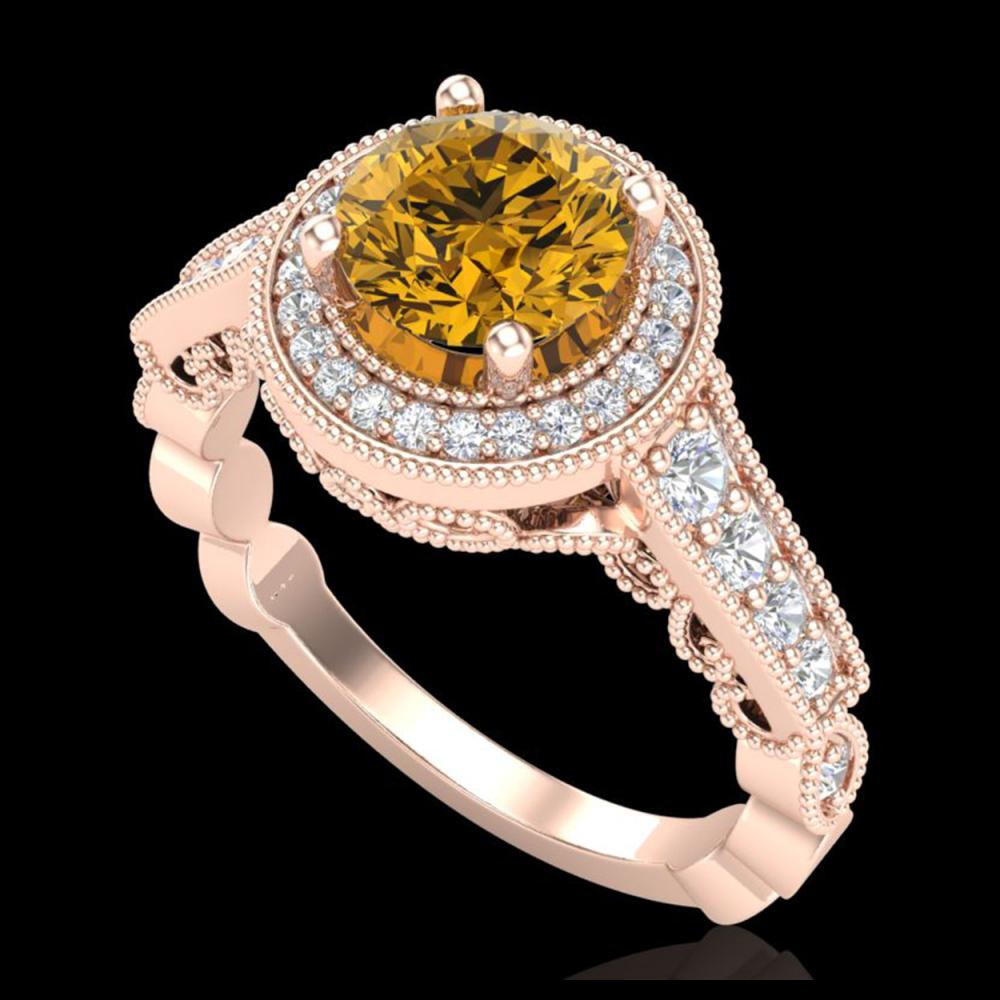 1.91 CTW Intense Fancy Yellow Diamond Engagement Art Deco Ring 18K Rose Gold - REF-263Y6K - 37687