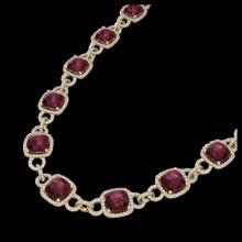 Lot 5174: 66 CTW Garnet & Micro VS/SI Diamond Eternity Necklace 14K Yellow Gold - REF-794H5A - 23045
