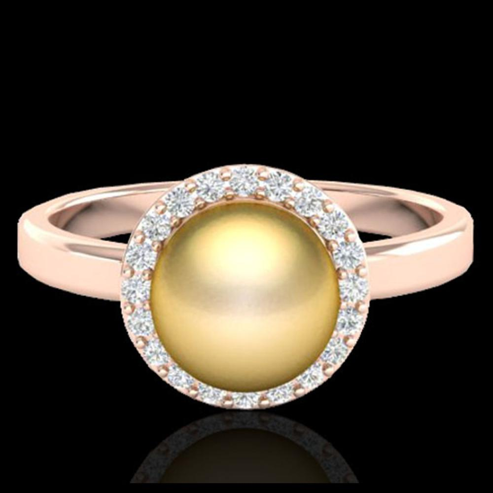 Lot 5175: 0.25 CTW Micro Pave Halo VS/SI Diamond & Golden Pearl Ring 14K Rose Gold - REF-40A9X - 21630