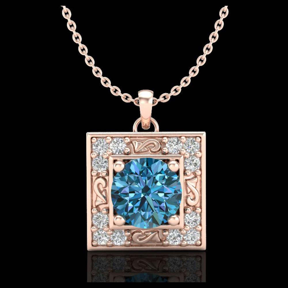 1.02 CTW Fancy Intense Blue Diamond Solitaire Art Deco Necklace 18K Rose Gold - REF-125H5A - 38168