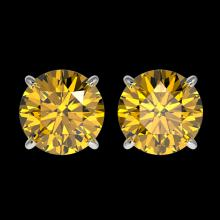 Lot 5173: 2.50 CTW Certified Intense Yellow SI Diamond Solitaire Stud Earrings 10K White Gold - REF-427W5F - 33108