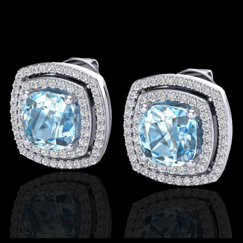 4.05 CTW Sky Blue Topaz & Micro VS/SI Diamond Halo Earrings 18K White Gold - REF-104X4T - 20157