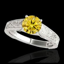 Lot 5182: 1 CTW Certified SI/I Fancy Intense Yellow Diamond Solitaire Ring 10K White Gold - REF-152N8Y - 35189