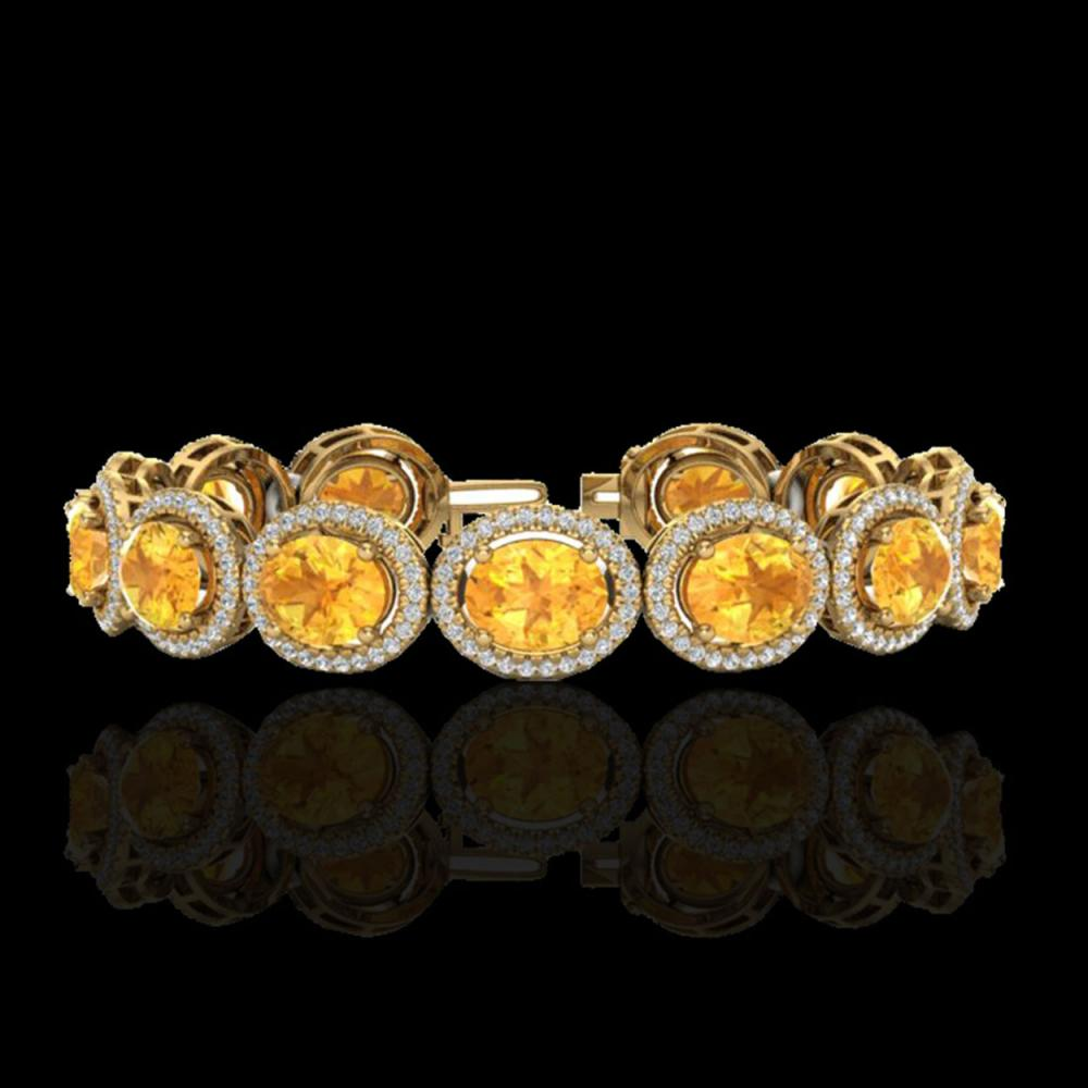 24 CTW Citrine & Micro Pave VS/SI Diamond Bracelet 10K Yellow Gold - REF-360M2H - 22685