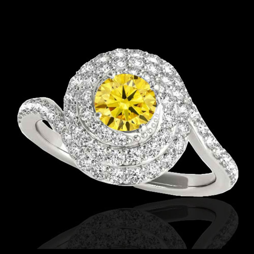2.11 CTW Certified SI/I Fancy Intense Yellow Diamond Solitaire Halo Ring 10K White Gold - REF-290X9T - 34520