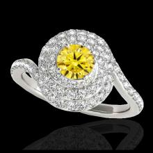 Lot 5189: 2.11 CTW Certified SI/I Fancy Intense Yellow Diamond Solitaire Halo Ring 10K White Gold - REF-290X9T - 34520