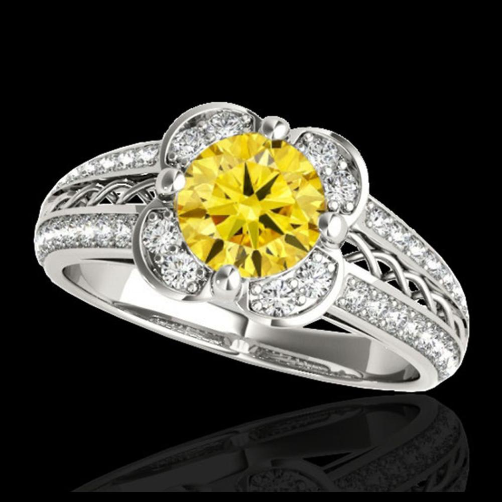 2.05 CTW Certified SI/I Fancy Intense Yellow Diamond Solitaire Halo Ring 10K White Gold - REF-327N3Y - 34272