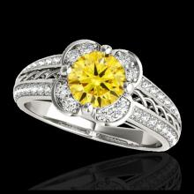 Lot 5193: 2.05 CTW Certified SI/I Fancy Intense Yellow Diamond Solitaire Halo Ring 10K White Gold - REF-327N3Y - 34272