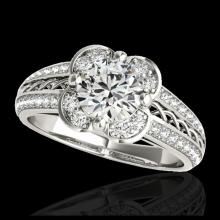 Lot 5194: 2.05 CTW H-SI/I Certified Diamond Solitaire Halo Ring 10K White Gold - REF-371F3N - 34265