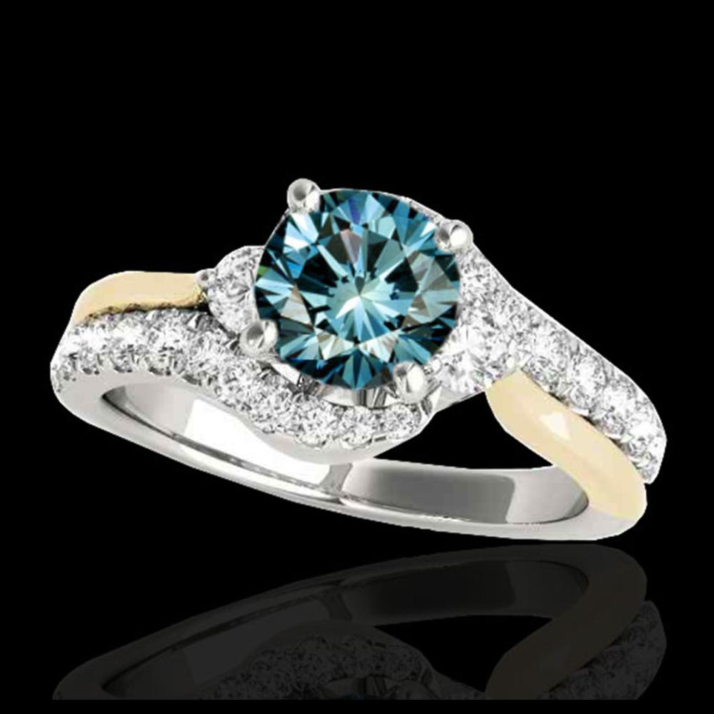 1.6 CTW SI Certified Fancy Blue Diamond Bypass Solitaire Ring 10K White & Yellow Gold - REF-180A2X - 35115