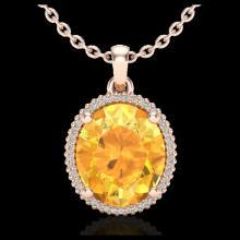 Lot 5195: 10 CTW Citrine & Micro Pave VS/SI Diamond Halo Necklace 14K Rose Gold - REF-66W8F - 20606