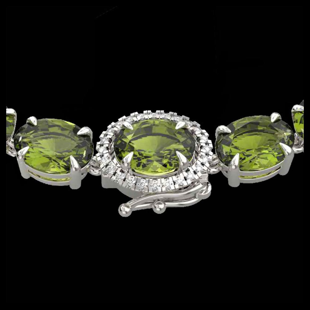35.25 CTW Green Tourmaline & VS/SI Diamond Tennis Micro Halo Necklace 14K White Gold - REF-340K2W - 40271