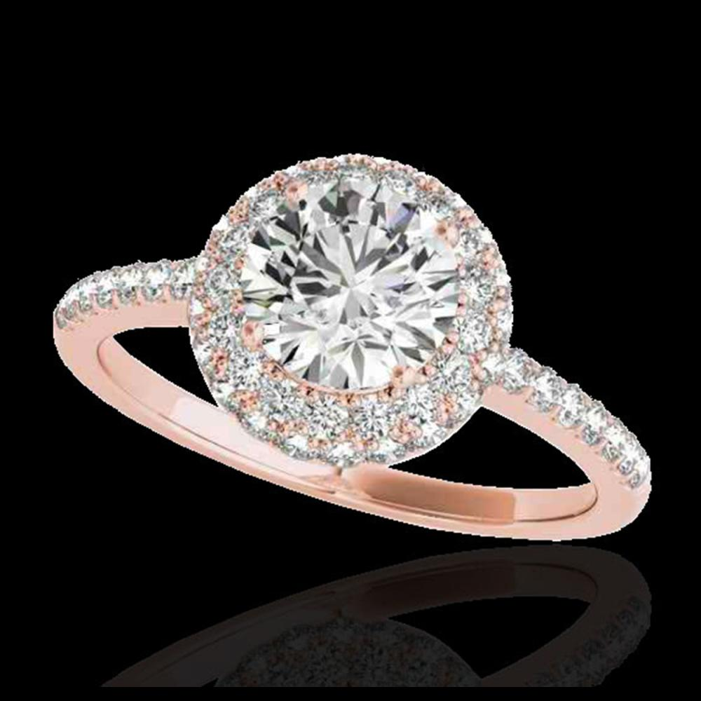 2.15 CTW H-SI/I Certified Diamond Solitaire Halo Ring 10K Rose Gold - REF-359A8X - 33680