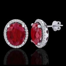 Lot 5001: 6 CTW Ruby & Micro Pave VS/SI Diamond Earrings Halo 18K White Gold - REF-101M6H - 21062