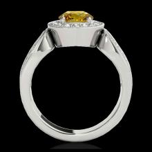 Lot 5005: 1.4 CTW Certified SI/I Fancy Intense Yellow Diamond Solitaire Halo Ring 10K White Gold - REF-180T2M - 34565