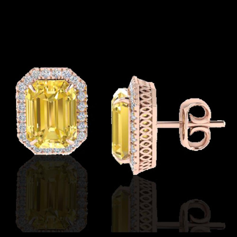 Lot 5008: 8.40 CTW Citrine & Micro Pave VS/SI Diamond Halo Earrings 14K Rose Gold - REF-64K5W - 21221