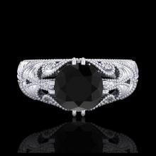 Lot 5014: 1 CTW Fancy Black Diamond Solitaire Engagement Art Deco Ring 18K White Gold - REF-90A9X - 37527