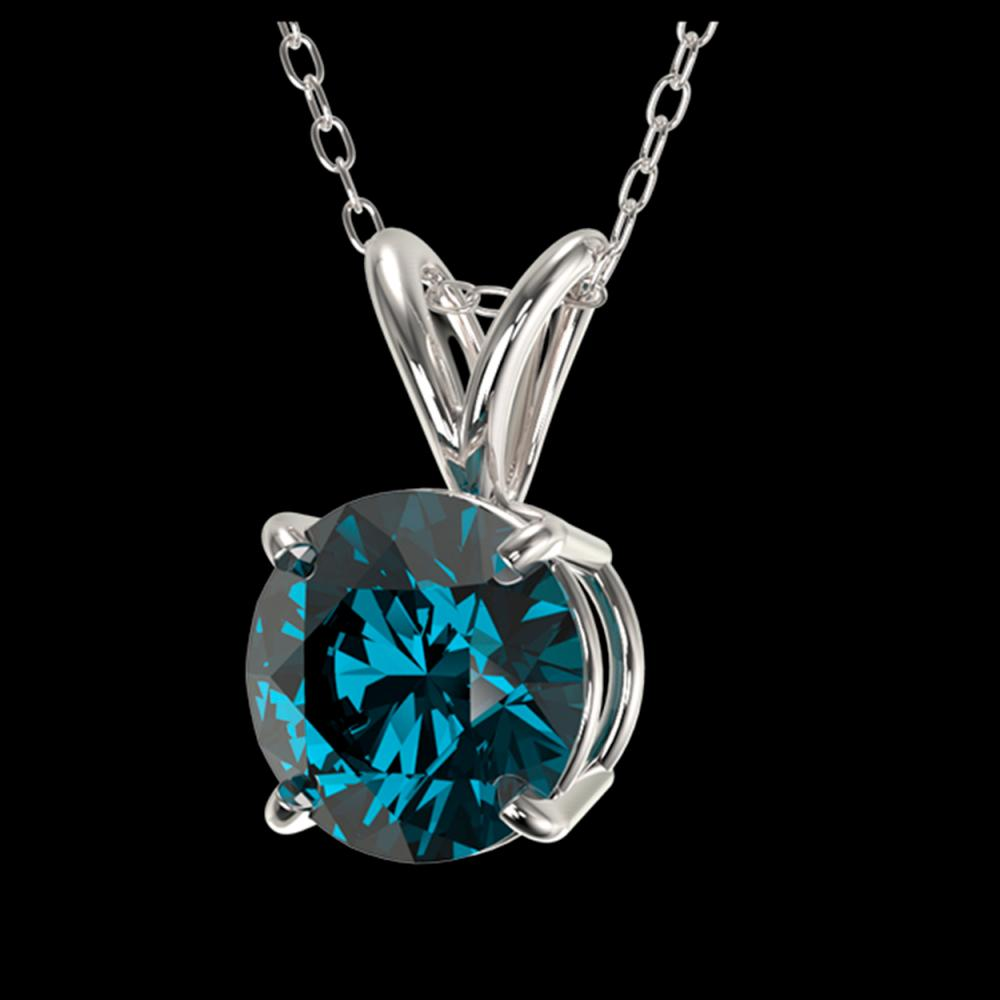 Lot 5013: 1.01 CTW Certified Intense Blue SI Diamond Solitaire Necklace 10K White Gold - REF-111Y2K - 36765