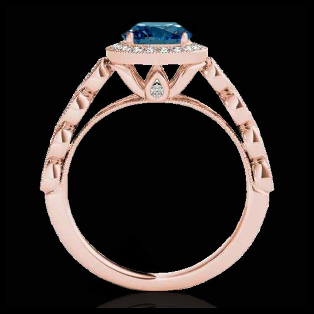 Lot 5018: 1.5 CTW SI Certified Fancy Blue Diamond Solitaire Halo Ring 10K Rose Gold - REF-178X2T - 33604