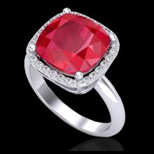 Lot 5019: 6 CTW Ruby & Micro Pave Halo VS/SI Diamond Ring 18K White Gold - REF-77W3F - 23102