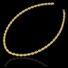 Lot 5020: 28 CTW Citrine & VS/SI Diamond Eternity Tennis Necklace 10K Yellow Gold - REF-146Y5K - 21591