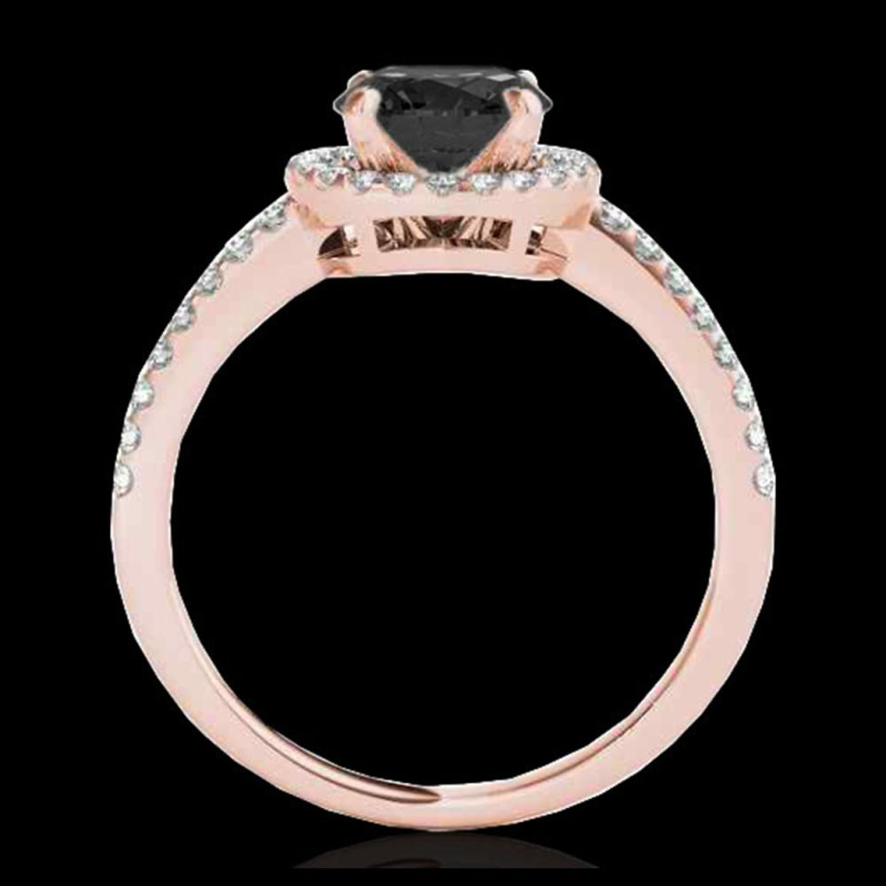 Lot 5026: 1.4 CTW Certified VS Black Diamond Solitaire Halo Ring 10K Rose Gold - REF-61F8N - 34100