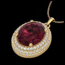 Lot 5027: 4.50 CTW Garnet & Micro Pave VS/SI Diamond Necklace 18K Yellow Gold - REF-96H5A - 20566