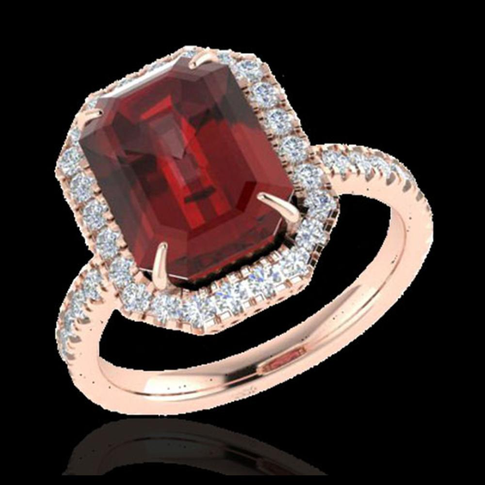 Lot 5031: 6.03 CTW Garnet And Micro Pave VS/SI Diamond Halo Ring 14K Rose Gold - REF-52F4N - 21427