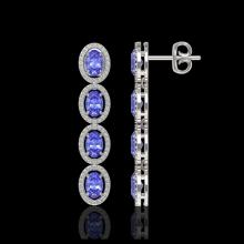 Lot 5032: 6.09 CTW Tanzanite & Diamond Halo Earrings 10K White Gold - REF-122T2M - 40511