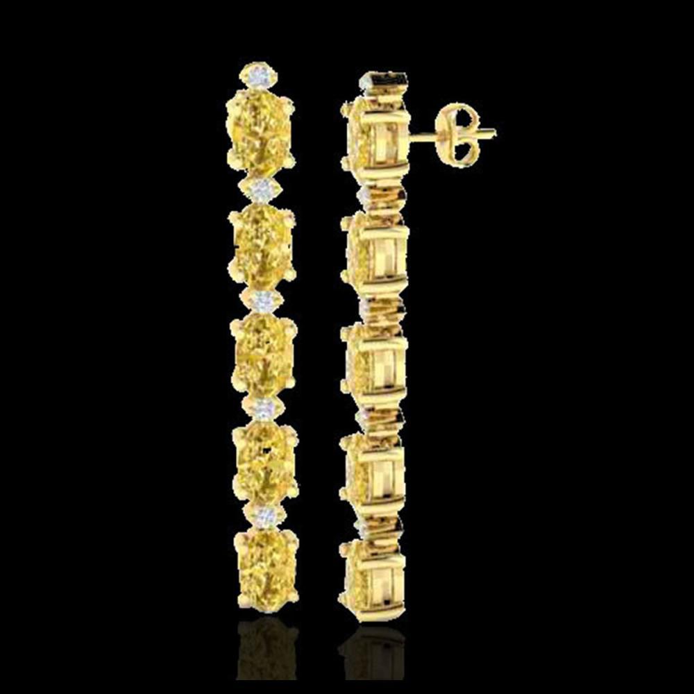 Lot 5035: 10.36 CTW Citrine & VS/SI Certified Diamond Tennis Earrings 10K Yellow Gold - REF-54A9X - 29393