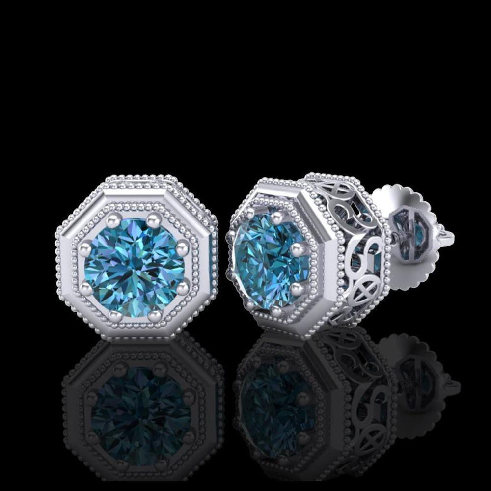 Lot 5034: 1.07 CTW Fancy Intense Blue Diamond Art Deco Stud Earrings 18K White Gold - REF-118T2M - 37936
