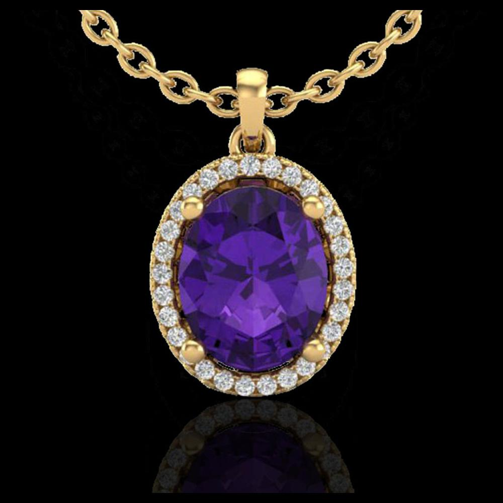 Lot 5039: 2.50 CTW Amethyst & Micro Pave VS/SI Diamond Necklace Halo 18K Yellow Gold - REF-44X9T - 21068