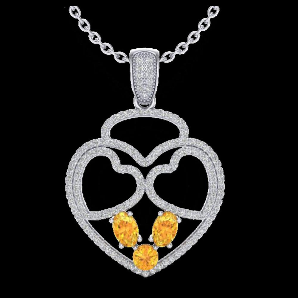 Lot 5040: 3 CTW Citrine & Micro Pave Designer Inspired Heart Necklace 14K White Gold - REF-117Y8K - 22536