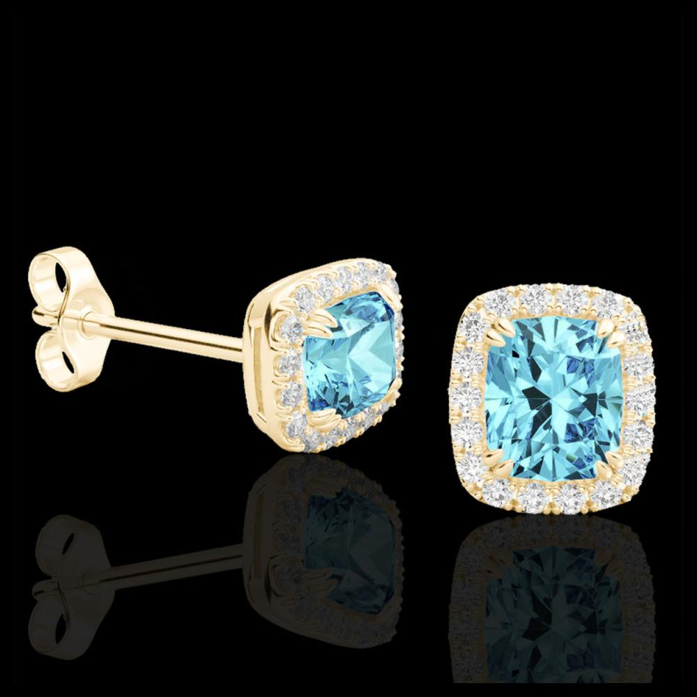 Lot 5046: 2.50 CTW Sky Blue Topaz & Micro VS/SI Diamond Halo Earrings 10K Yellow Gold - REF-41K3W - 22874
