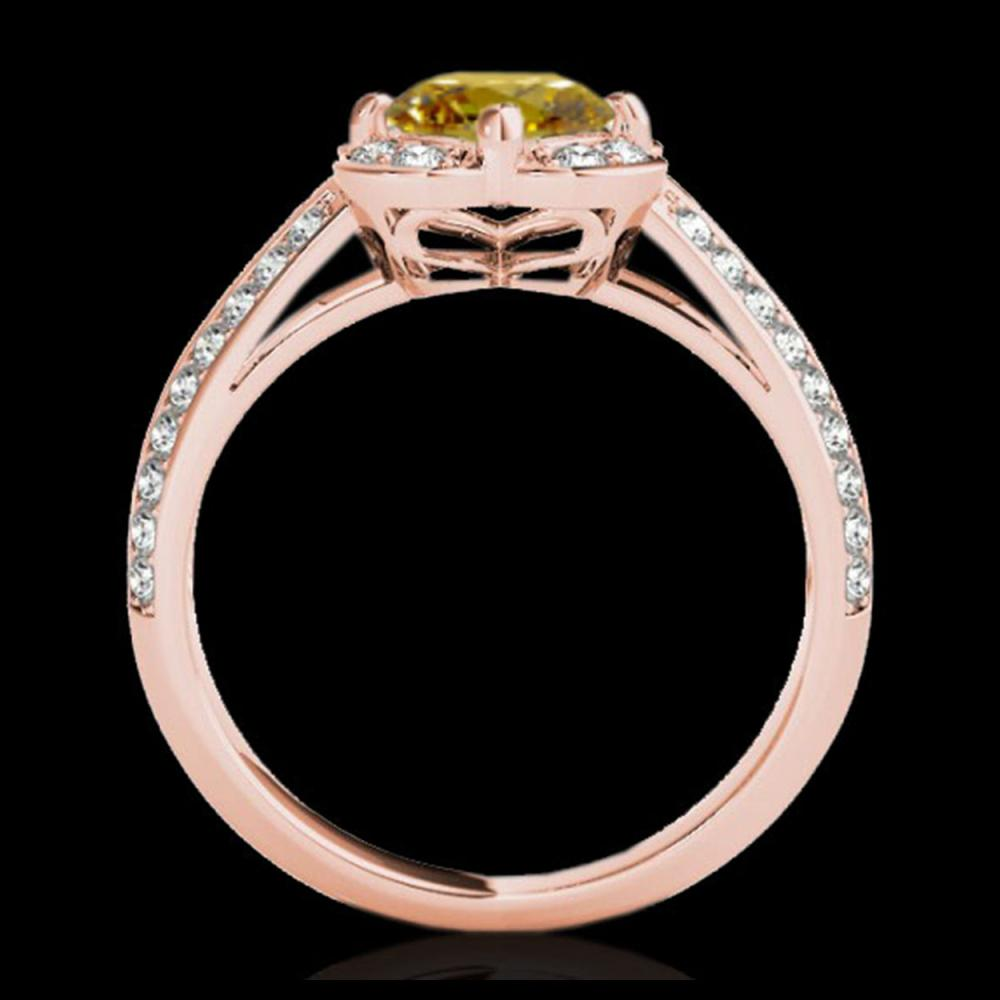 Lot 5047: 1.5 CTW Certified SI/I Fancy Intense Yellow Diamond Solitaire Halo Ring 10K Rose Gold - REF-180H2A - 34264