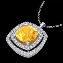 Lot 5048: 1.77 CTW Citrine & Micro Pave VS/SI Diamond Halo Necklace 18K White Gold - REF-63A5X - 20452