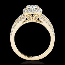 Lot 5050: 2 CTW H-SI/I Certified Diamond Solitaire Halo Ring 10K Yellow Gold - REF-180X2T - 34000