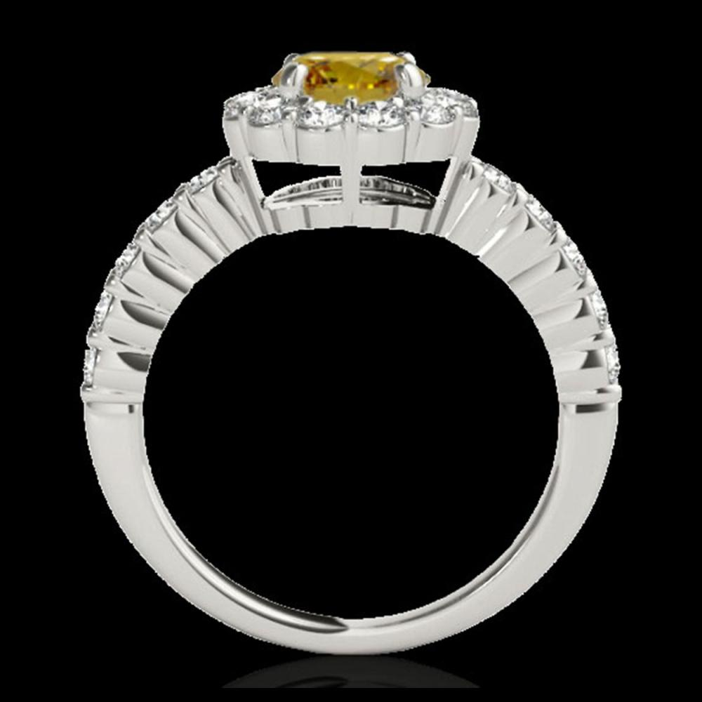 Lot 5052: 1.75 CTW Certified SI/I Fancy Intense Yellow Diamond Solitaire Halo Ring 10K White Gold - REF-180X2T - 34166