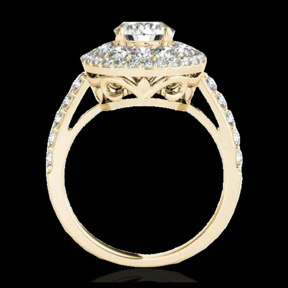 Lot 5053: 2.09 CTW H-SI/I Certified Diamond Solitaire Halo Ring 10K Yellow Gold - REF-220M2H - 33690