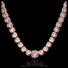 Lot 5055: 87 CTW Morganite & VS/SI Diamond Halo Micro Pave Necklace 14K Rose Gold - REF-1163A6X - 23353