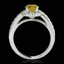 Lot 5058: 1.5 CTW Certified SI/I Fancy Intense Yellow Diamond Solitaire Halo Ring 10K White Gold - REF-180X2T - 33930