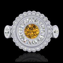 Lot 5062: 2.62 CTW Intense Fancy Yellow Diamond Art Deco 3 Stone Ring 18K White Gold - REF-290M9H - 37924