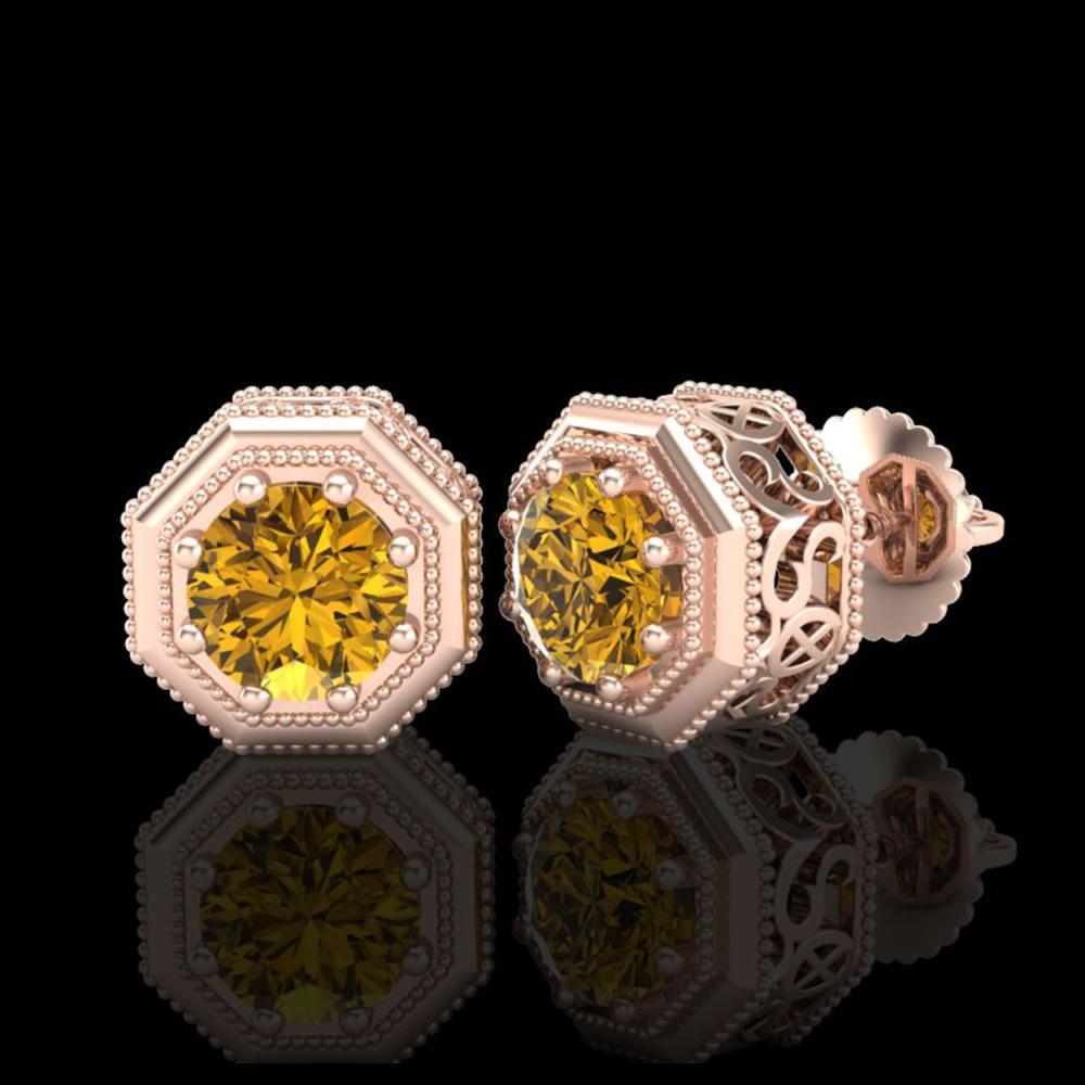 Lot 5066: 1.07 CTW Intense Fancy Yellow Diamond Art Deco Stud Earrings 18K Rose Gold - REF-132A8X - 37939