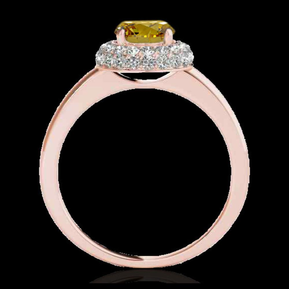 Lot 5071: 1.43 CTW Certified SI/I Fancy Intense Yellow Diamond Solitaire Halo Ring 10K Rose Gold - REF-169T3M - 33669