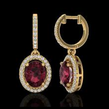 Lot 5073: 3.75 CTW Garnet & Micro Pave VS/SI Diamond Earrings Solitaire Halo 18K Yellow Gold - REF-100W2F - 20326