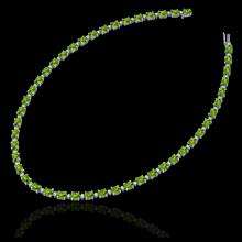 Lot 5075: 34 CTW Peridot & VS/SI Diamond Tennis Necklace White 10K White Gold - REF-213N6Y - 21599