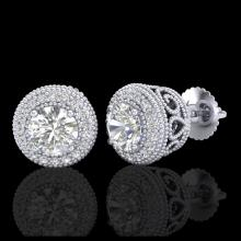 Lot 5076: 1.55 CTW VS/SI Diamond Solitaire Art Deco Stud Earrings 18K White Gold - REF-259H3A - 36962