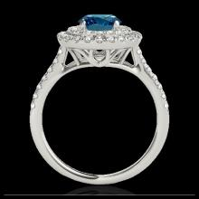 Lot 5077: 1.5 CTW SI Certified Fancy Blue Diamond Solitaire Halo Ring 10K White Gold - REF-163M6H - 33356